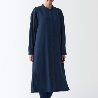MUJI (無印良品) - 新疆綿フランネル スタンドカラーワンピース
