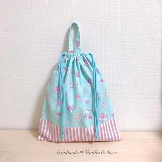 ユニコーン★ミントブルー×パープルストライプ 体操着袋(外出用品)