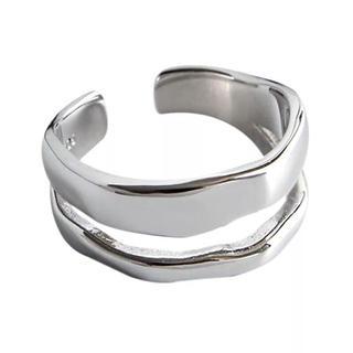 【大人気】シルバーリング フリーサイズ 2連(リング(指輪))