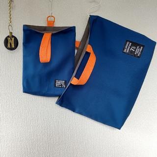 専用ページ♪ 再販☆セルリアンブルー×蛍光オレンジ レッスンバッグ 上履き入れ(バッグ/レッスンバッグ)