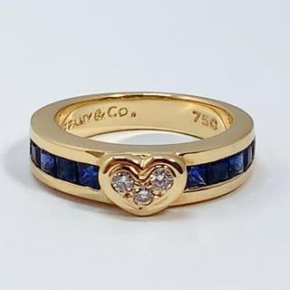 Tiffany & Co. - ティファニー 750 サファイア ダイヤモンド リング ハート TIFFANY