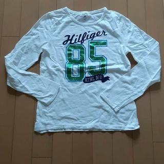 トミーヒルフィガー(TOMMY HILFIGER)のトミーヒルフィガーTommyHILFIGER白×緑ロゴ長袖Tシャツ160サイズ(Tシャツ(長袖/七分))