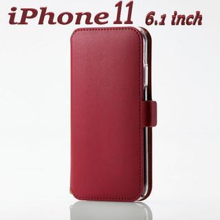 ELECOM - iPhone 11 手帳型ケース ソフトレザーケース 超極み 磁石付 (レッド)