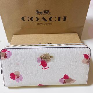 COACH - coach長財布 フラワーホワイトレザーラウンドファスナー