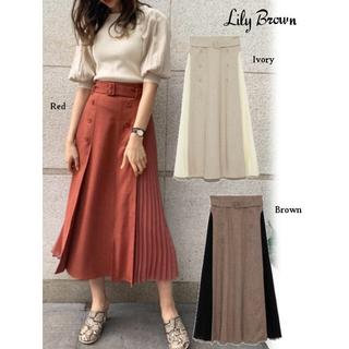 リリーブラウン(Lily Brown)の美品✨異素材切替プリーツスカート(ロングスカート)
