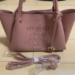エムズグレイシー(M'S GRACY)のエムズグレイシー ハンドバッグ ピンク カメリア(ハンドバッグ)