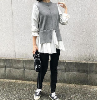 未使用 ドッキングシャツ ニット シャツ 冬服 秋服 グレー(ニット/セーター)