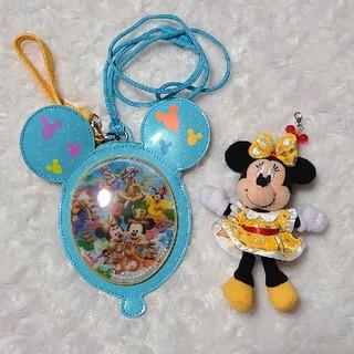 ディズニー(Disney)のディズニーパスケース&ミニーマウスぬいぐるみセット(キャラクターグッズ)