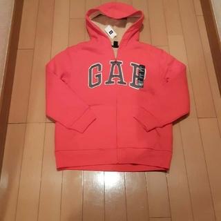 ギャップ(GAP)の新品未使用タグ付きギャップGAPオレンジ長袖ボアパーカー 140(ジャケット/上着)