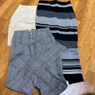 リゼクシー(RESEXXY)の【激安❤️】ボトムス スキニー パンツ スカート 3点セット チェック ボーダー(ミニスカート)