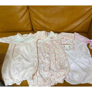 新生児 長袖ロンパース ボディスーツ コンビドレス 3枚セット 女の子 ピンク