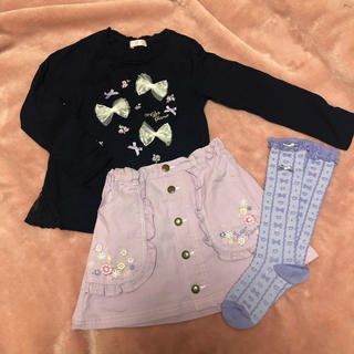 mezzo piano - タイムセール メゾピアノ リボン 花刺繍 ロンT スカート ソックス
