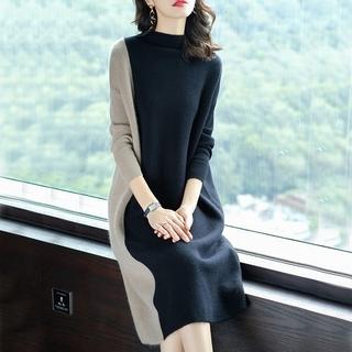 dholic - 韓国ファッション ロング丈ワンピース バイカラーワンピース モックネック