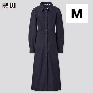 UNIQLO - ユニクロ ロングシャツ ワンピース(長袖) デニム ブルー M