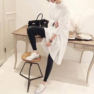 dholic - 韓国ファッション ロング丈カットソーワンピ チュニック オーバーサイズ