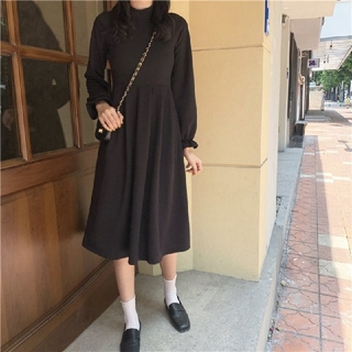dholic - 韓国ファッション シンプルロング丈ワンピース モックネックワンピース