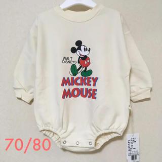春秋冬 70(73)/80 ミッキー   ロンパース ホワイト 韓国ベビー服