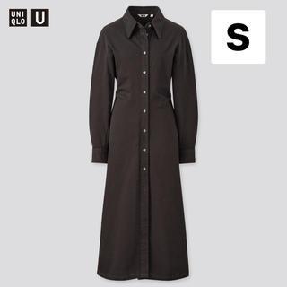 UNIQLO - ユニクロ ロングシャツワンピース (長袖) 黒 ブラック S