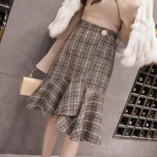 マーメイドスカート ツイード チェック柄 膝丈スカート デート服 お嬢様風
