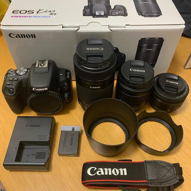 Canon(キヤノン)のCanon EOS Kiss X9 ダブルズームキット BK スマホ/家電/カメラのカメラ(デジタル一眼)の商品写真