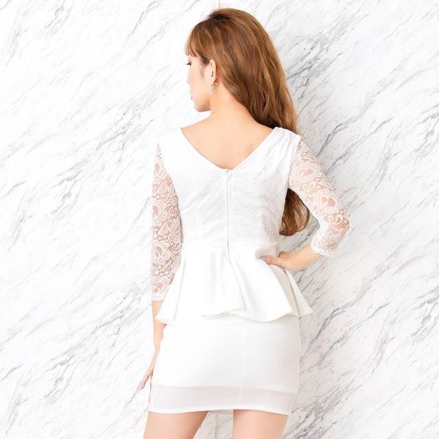 dazzy store(デイジーストア)のDazzy 5分袖フロントリボンペプラムタイトミニドレス  ネイビー 紺 新品 レディースのフォーマル/ドレス(ミニドレス)の商品写真