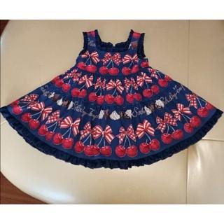 Shirley Temple - シャーリーテンプルチェリーチョコジャンパースカートネイビー90