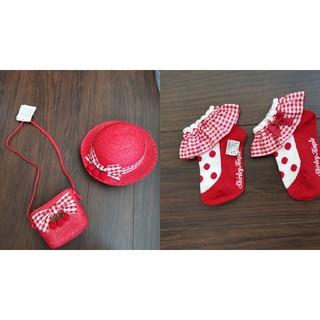 Shirley Temple - シャーリーテンプルいちごバスケット麦わら帽子、バッグ、靴下セット