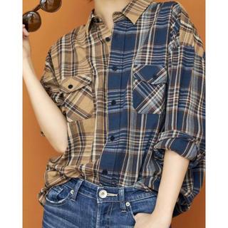 GYDA - GYDAコンビチェックシャツ ブルー
