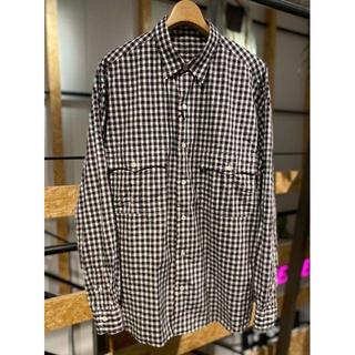 コモリ(COMOLI)の新品 ポータークラシック ロールアップシャツ ギンガム ブラック トリコロール (シャツ)