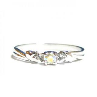 7号 ピンキー ハート スワロフスキークリスタル オーロラクリア シルバーリング(リング(指輪))