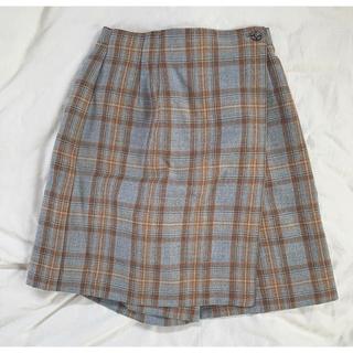 ブルー ブラウン チェック キュロットスカート