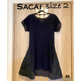 sacai - サカイ Sacai サイズ2 M ダークネイビー×黒 ワンピース