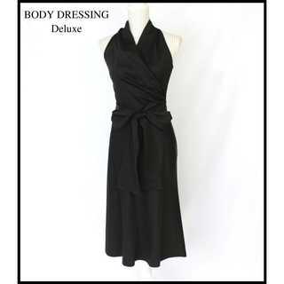 ボディドレッシングデラックス(BODY DRESSING Deluxe)のボディドレッシングデラックス★ウール×シルク ドレスワンピース 黒  9号(M)(ロングドレス)
