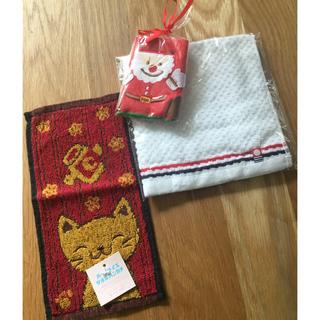 イマバリタオル(今治タオル)の今治タオル、サンタ、ネコ柄3枚セット新品(タオル/バス用品)