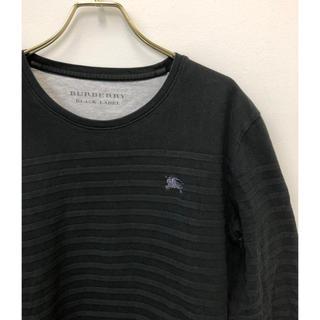 バーバリーブラックレーベル(BURBERRY BLACK LABEL)のバーバリーブラックレーベル ホース刺繍 シャドー ボーダー ストレッチカットソー(Tシャツ/カットソー(七分/長袖))