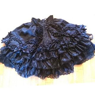 アンジェリックプリティー(Angelic Pretty)のアンジェリックプリティ   豪華  フロッキー  レース  スカート  黒(ひざ丈スカート)