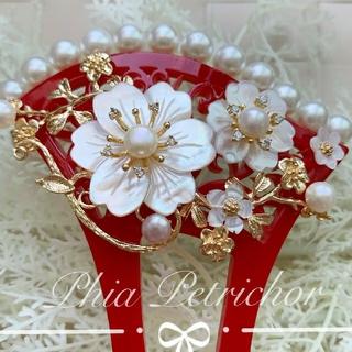 かんざし 白蝶貝 W2010282バチ型 結婚式 パール 簪 留袖 着物 成人式(ヘアアクセサリー)