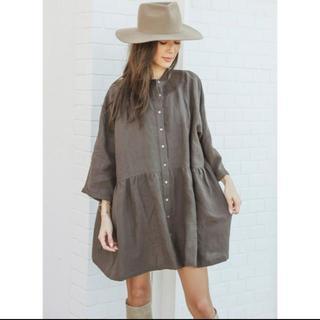 アリシアスタン(ALEXIA STAM)のアリシアスタン☆Stand Collar Shirt Dress Brown☆(ひざ丈ワンピース)