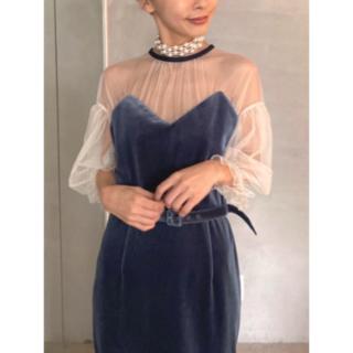 Ameri VINTAGE - Ameri TULLE SLEEVE TIGHT DRESS 完売品 ブルー
