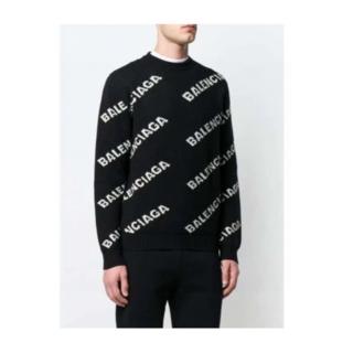 Balenciaga - 新品美品BALENCIAGA ロゴ ニット クルーネック 黒