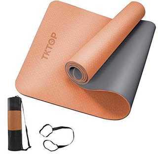 オレンジ+グレーヨガマット トレーニングマット エクササイズマット 厚さ6mm (ヨガ)