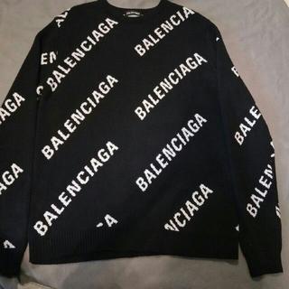 Balenciaga - 新品美品BALENCIAGA ロゴ ニット クルーネック 黒 M