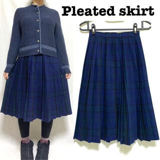 Grimoire - チェック柄 プリーツスカート ウール ロングスカート vintage 90年代