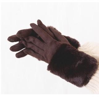 しまむら - ファー付手袋 濃茶 しまむら プチプラのあや
