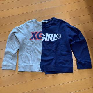 エックスガール(X-girl)のX-girl ロゴ切り替え長袖トレーナー 140(Tシャツ/カットソー)