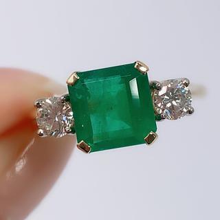 750 エメラルド 2.55 ダイヤモンド 0.48 リング 指輪 鑑別書(リング(指輪))
