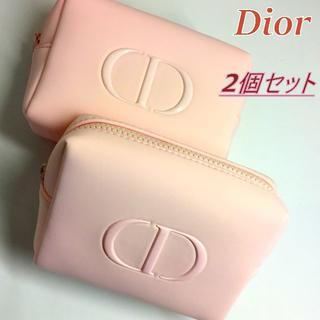 ディオール(Dior)の2個セット★2020新作 Dior ライトピンク ツヤ CDロゴ コスメポーチ(ポーチ)