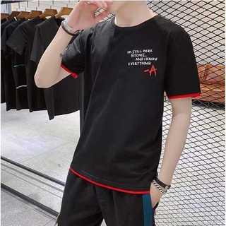 重ね着風Tシャツ 黒 ブラック 半袖 丸首 ロゴ イラスト 韓国ファッション(Tシャツ/カットソー(半袖/袖なし))