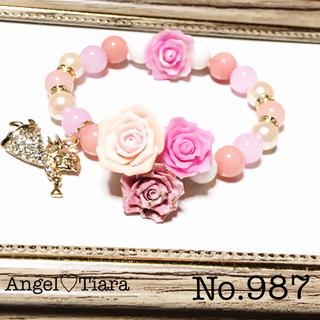 大特価♡天使とピンク薔薇ブーケの天然石ブレスレット