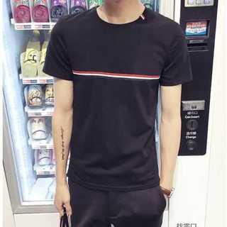 横ラインTシャツ 黒 ブラック 半袖 丸首 ロゴ イラスト 韓国ファッション(Tシャツ/カットソー(半袖/袖なし))